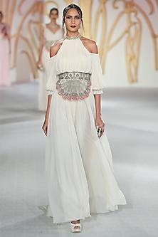 Ivory Cold Shoulder Gown by Varun Bahl