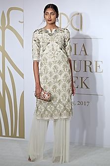 Ivory Embroidered Kurta with Farshi by Varun Bahl