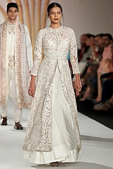 Ivory Embroidered Anarkali Jacket and Skirt Set by Varun Bahl