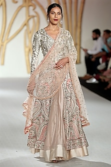 Ivory Embroidered Anarkali Jacket and Pink Skirt Set by Varun Bahl