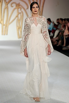 Ivory Ruffled Gown with Cape Set by Varun Bahl