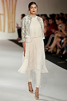 Ivory Drape Kurta and Embroidered Jacket Set by Varun Bahl