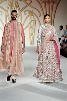 Ivory Embroidered Lehenga and Jacket Set by Varun Bahl