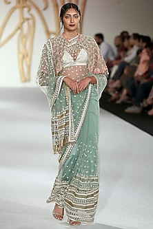 Pistachio Embroidered Saree and Cape Set by Varun Bahl