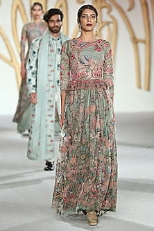Green Embroidered Floral Motifs Gown by Varun Bahl