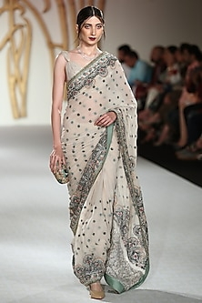 Ivory Embroidered Saree with Blouse