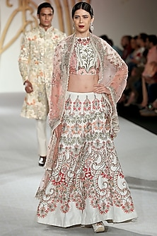 Ivory Spiral Embroidered Lehenga Set by Varun Bahl
