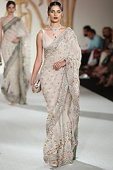 Sea Green Embroidered Saree with Blouse by Varun Bahl
