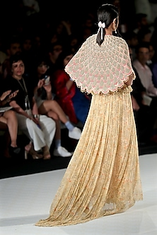 Beige Printed Drape Gown with Peach Scallop Cape