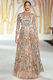 Nude Embroidered Asymmetrical Gown by Varun Bahl