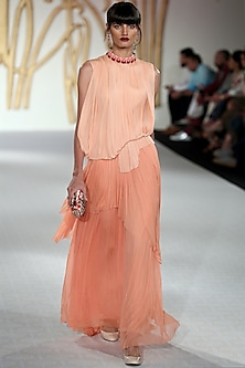 Peach Embroidered Balloon Gown by Varun Bahl