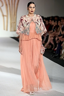 Peach Drape Gown with Embroidered Cape by Varun Bahl