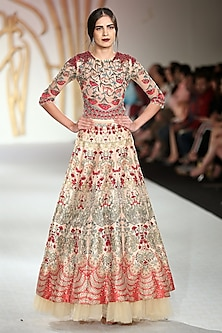 Beige Embroidered Asymmetrical Lehenga Skirt with Bodysuit