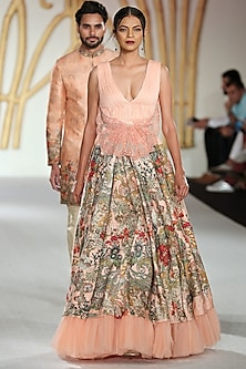 Peach Embroidered Asymmetrical Lehenga Skirt with Gathered Blouse by Varun Bahl