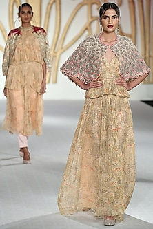 Peach Embroidered Scallop Cape by Varun Bahl