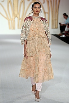Beige Embroidered Open Jacket by Varun Bahl
