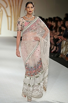 Pale Pink Embroidered Net Saree with Blouse