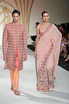 Pale Pink Embroidered Saree with Blouse by Varun Bahl