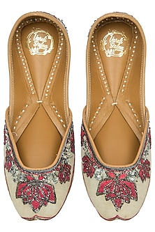 Mint Green Dual Tone Embroidered Juttis by Vareli Bafna Designs