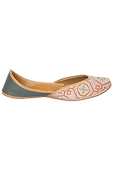 Dual Color Printed Thread Work Juttis by Vareli Bafna Designs