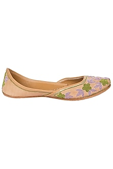 Biege Embroidered Juttis by Vareli Bafna Designs