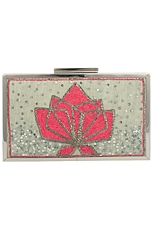 Mint Green Embroidered Antique Frame Clutch by Vareli Bafna Designs