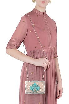 Blush and Beige Embroidered Clutch by Vareli Bafna Designs