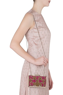 Red and Pink Embroidered Antique Finish Clutch by Vareli Bafna Designs
