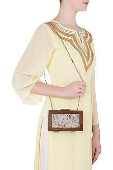 Grey Gold Wire Wooden Box Clutch by Vareli Bafna Designs