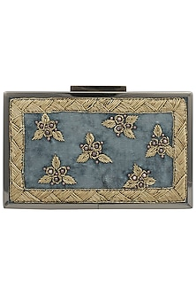 Teal Blue Embroidered Gold Frame Clutch by Vareli Bafna Designs