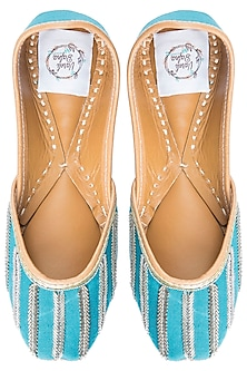 Blue Embroidered Juttis by Vareli Bafna Designs