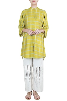 Mustard high-low tunic by Varun Bahl Pret