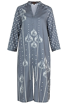 Grey button down kurta by Varun Bahl Pret