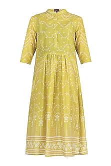 Mustard gathers tunic by Varun Bahl Pret