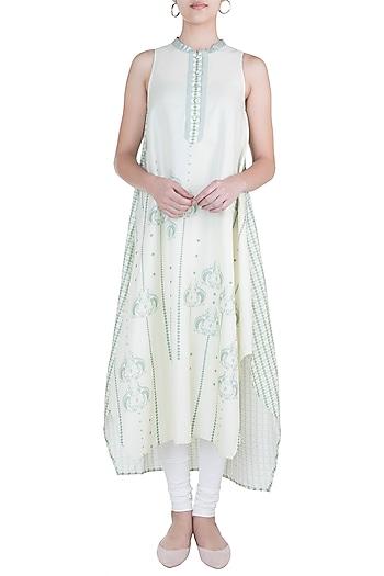 Ivory asymmetrical tunic by Varun Bahl Pret