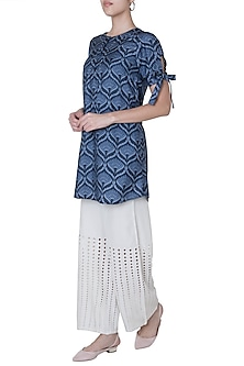 Midnight blue embellished tunic by Varun Bahl Pret