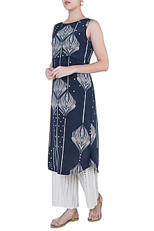 Midnight blue overlap tunic by Varun Bahl Pret