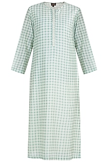 Sage green side placket kurta