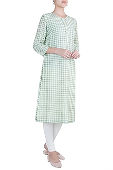 Sage green side placket kurta by Varun Bahl Pret