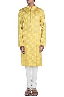 Mustard Printed Kurta Set by Varun Bahl Men