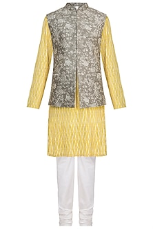 Mustard Printed Kurta Set With Grey Bundi Jacket by Varun Bahl Men