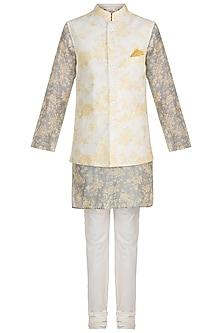 Powder Blue Printed Kurta Set With Ivory Bundi Jacket by Varun Bahl Men