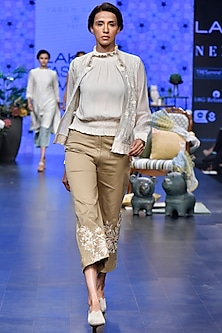 Ivory Embroidered Bomber Jacket With Top & Beige Pants by Varun Bahl