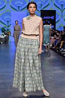Peach Printed Top With Duckegg Skirt by Varun Bahl