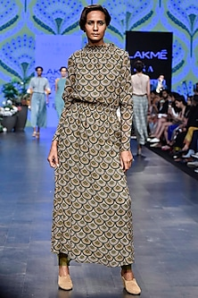 Olive Green Printed Scalloped Dress by Varun Bahl
