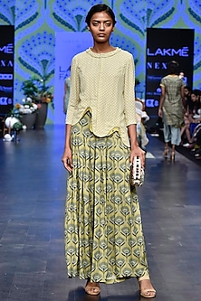 Green Printed Shirt With Olive Green Pleated Flared Pants by Varun Bahl