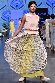 Pink Floral Top With Multi Colored Printed Skirt by Varun Bahl