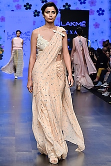 Ivory & Peach Printed Pre-Draped Saree Set by Varun Bahl