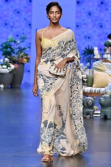 Ivory & Yellow Digital Printed Saree Set by Varun Bahl