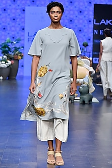 Duckegg Embroidered Tunic With Ivory Pants by Varun Bahl